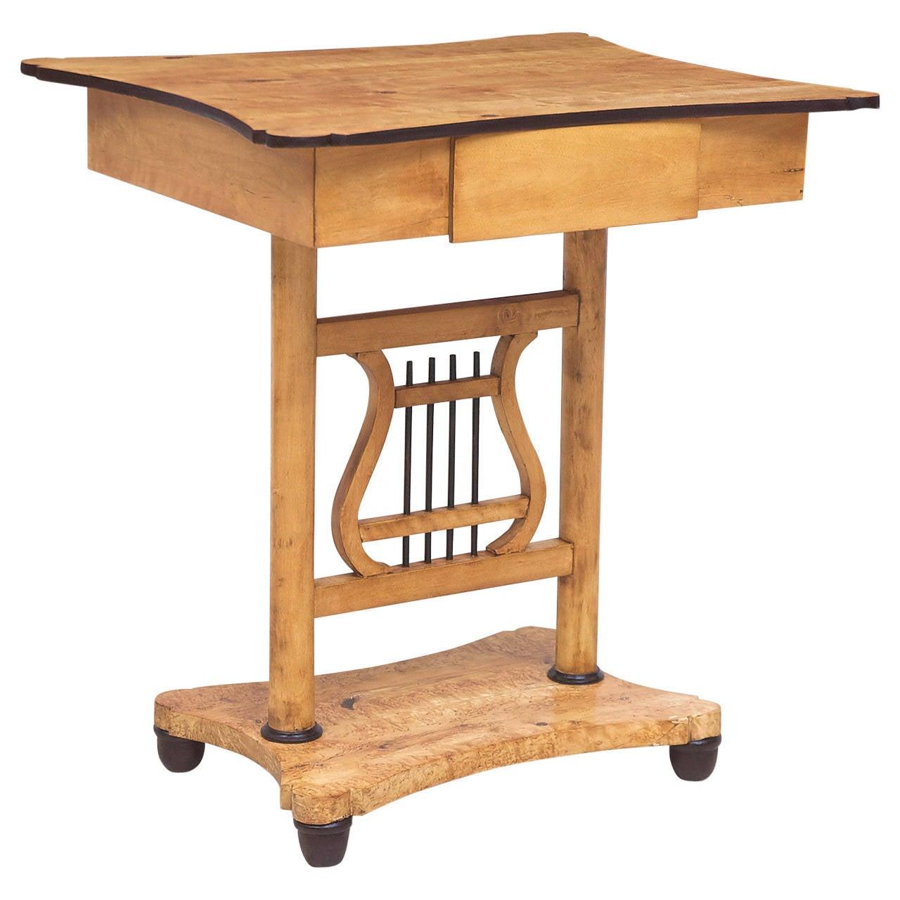 Scandinavian Biedermeier Birch Table with Lyre Pedestal and One Drawer, c. 1820