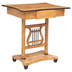 Scandinavian Biedermeier Birch Table with Lyre Pedestal and One Drawer, c. 1820