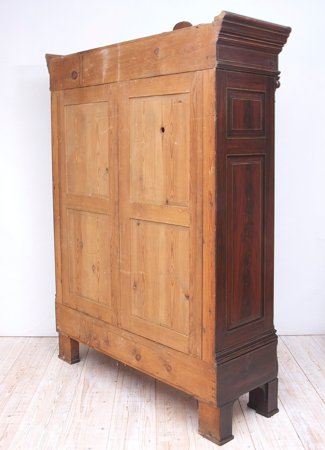 Armoire Sellerie Bois - German Empire Sun Armoire in Original Faux Bois and Stenciled Finish For Sale at 1stdibs