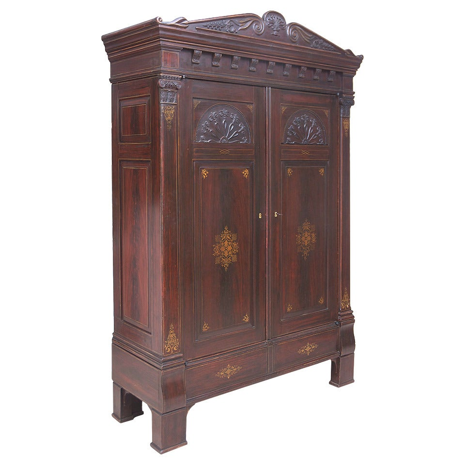 empire sun armoire in original faux bois and stenciled finish for sale at 1stdibs. Black Bedroom Furniture Sets. Home Design Ideas