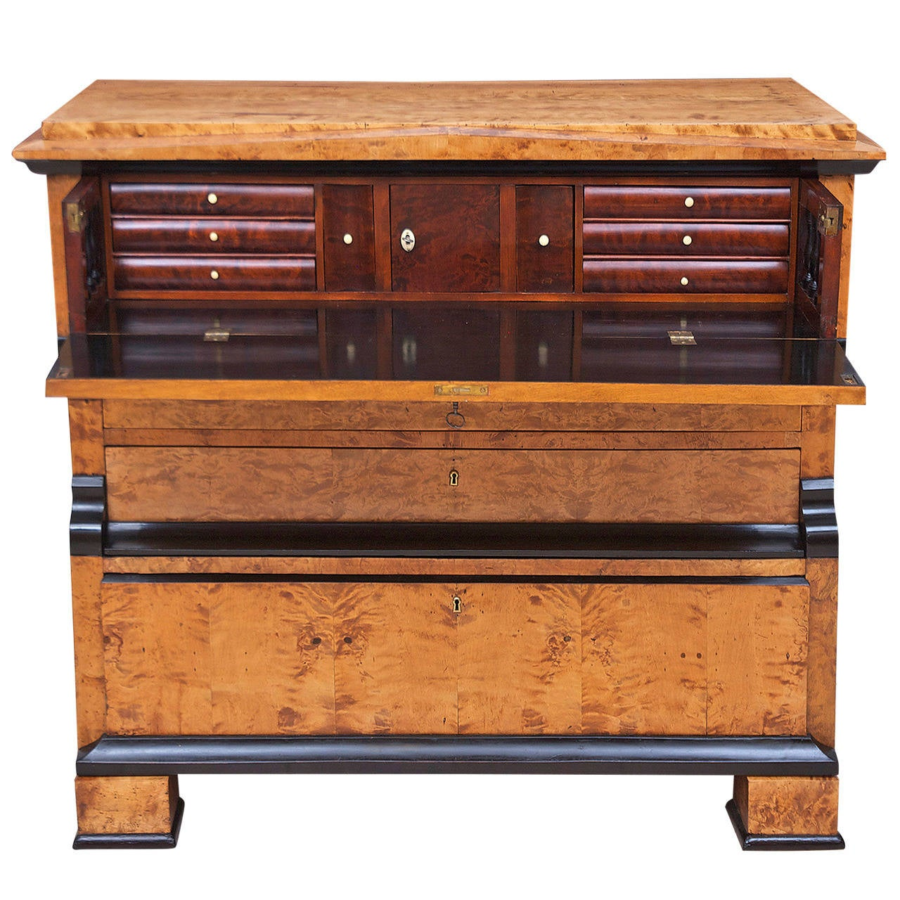 Polished Swedish Karl Johan Biedermeier Chest of Drawers with Pull Out Secretary in Birch For Sale