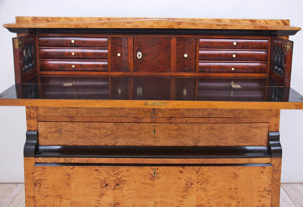 Swedish Karl Johan Biedermeier Chest of Drawers with Pull Out Secretary in Birch In Good Condition For Sale In Miami, FL