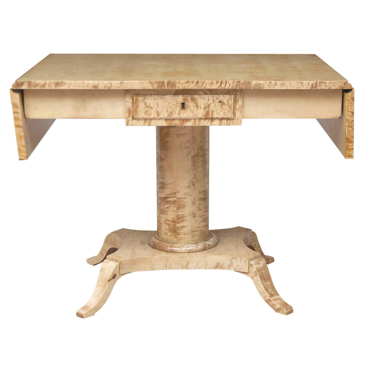Biedermeier Style Ivory-Tone Sofa or Writing Table in Birch