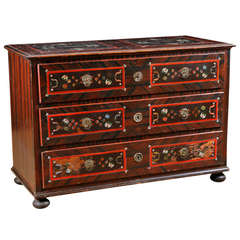 Hungarian Folk Art  Pine Chest of Drawers in Original Paint, circa 1860