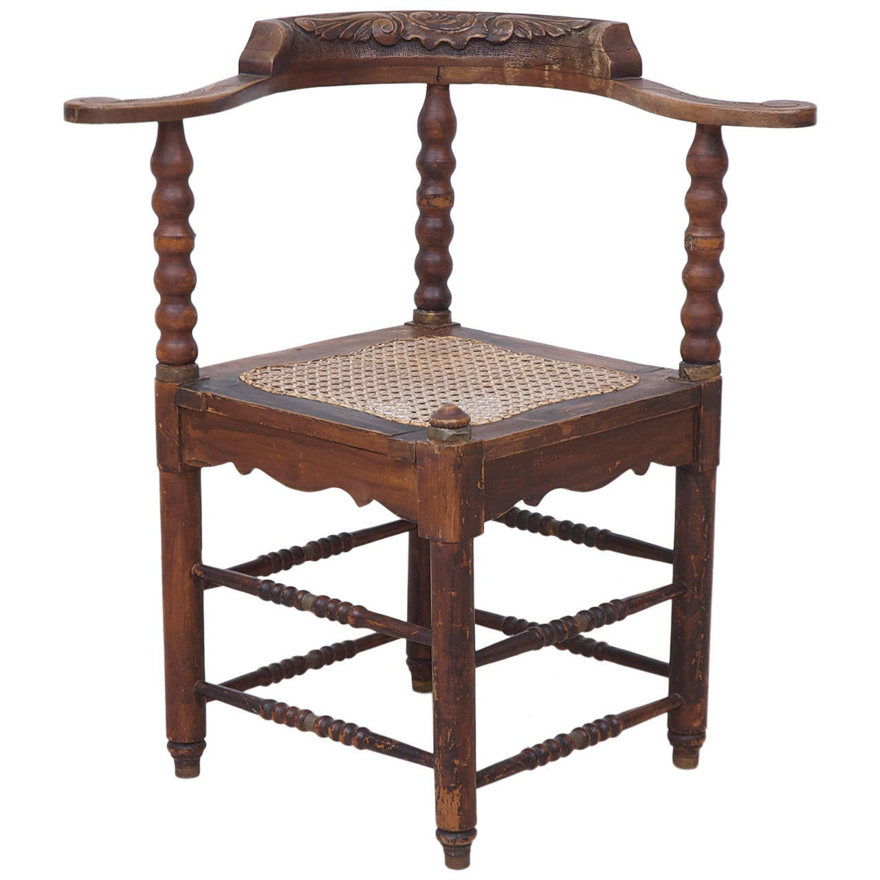 Dutch Colonial Corner Chair from Suriname 1 - Dutch Colonial Corner Chair From Suriname For Sale At 1stdibs