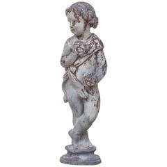 "Cast Lead Garden Statue of Child Holding Grapes Representing ""Summer"""