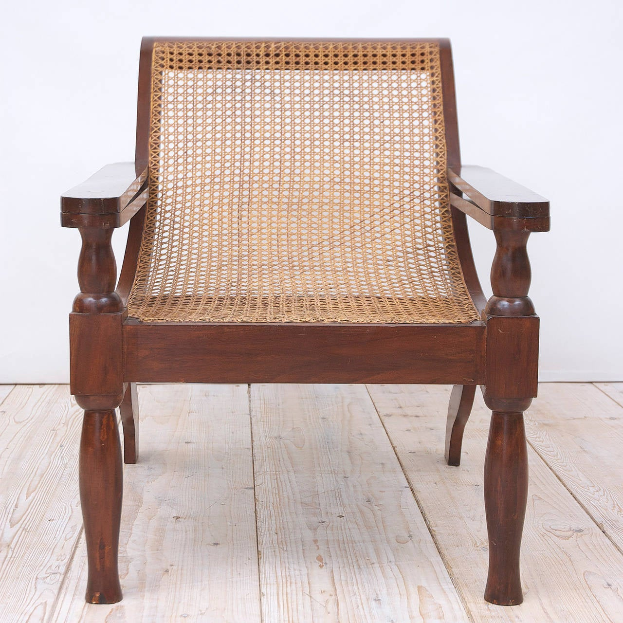 Beau British Colonial West Indies Planters Chair In Mahogany With Caning For Sale