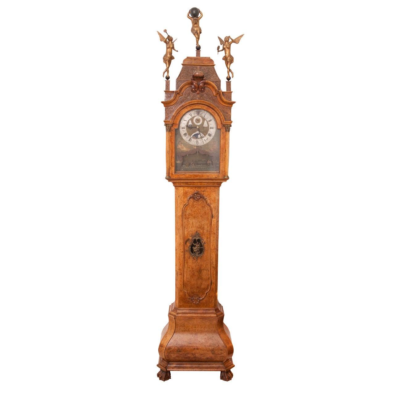 Tall Case Amsterdam Clock, Signed Pieter Verlaer, circa 1840-1860