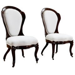 Pair of Rosewood Salon Chairs w/ Upholstery by John Henry Belter, circa 1844