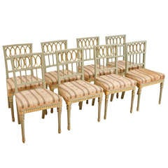 Set of 8 (Eight) Swedish Late Gustavian Dining Chairs
