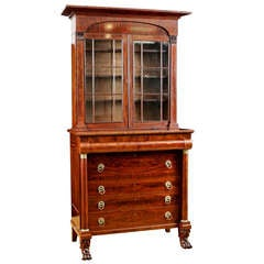 American Classical Secretary Bookcase in Mahogany Attributable to John Meads