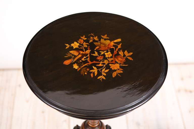 Pair of French Napoleon III Ebonized Side Tables with Marquetry, circa 1865 3