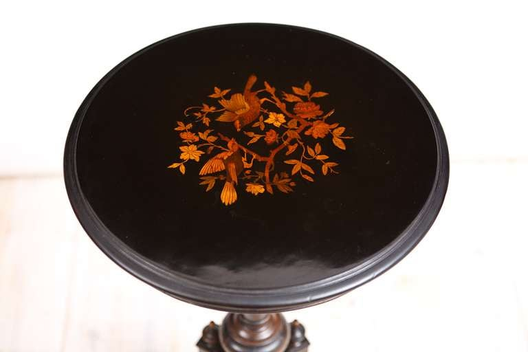 19th Century Pair of French Napoleon III Ebonized Side Tables with Marquetry, circa 1865 For Sale