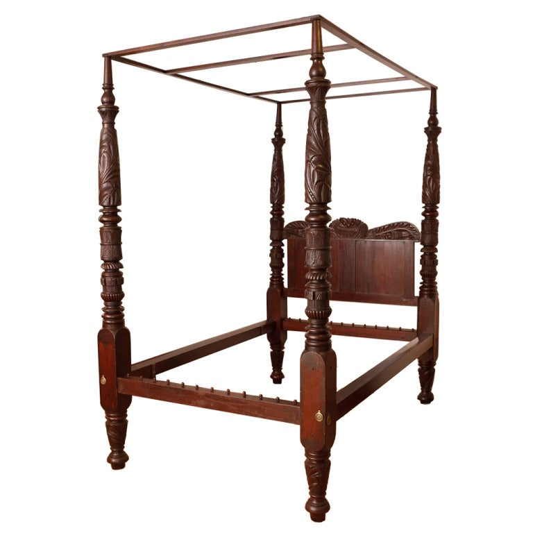 Very fine four poster american empire bed philadelphia for Furniture 1825