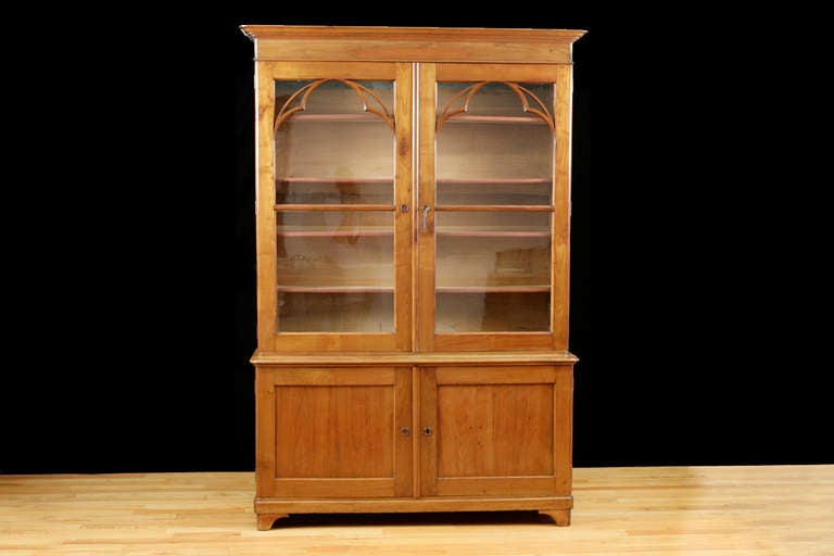 French charles bookcase in cherry wood w original glass
