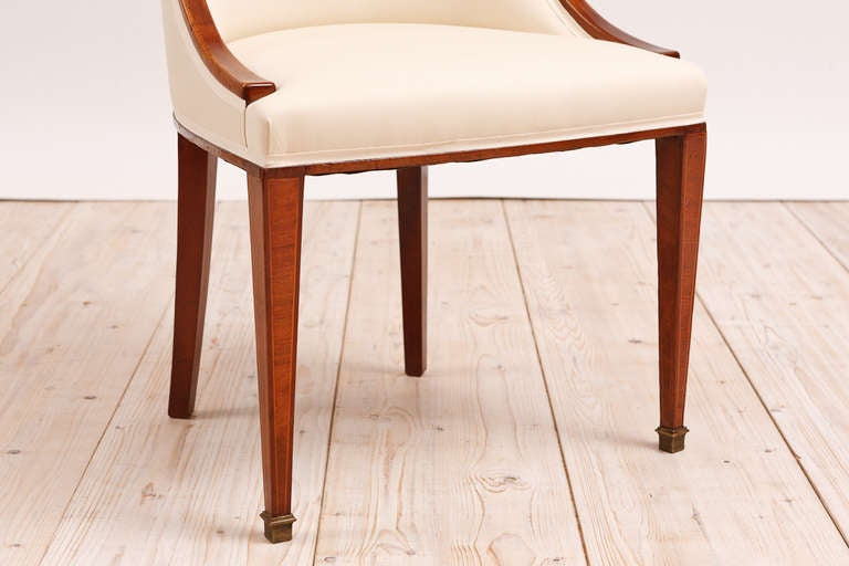 Set of 6 (Six) French Art Deco Gondola Dining Chairs in Mahogany In Excellent Condition In Miami, FL