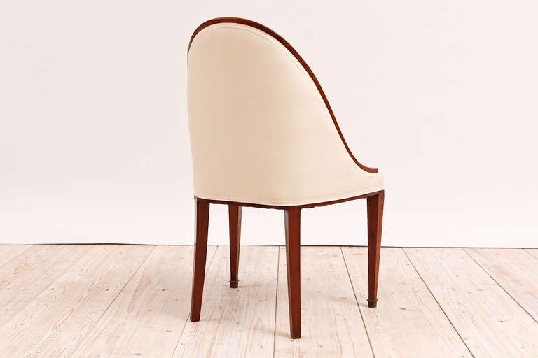 Set of 6 (Six) French Art Deco Gondola Dining Chairs in Mahogany 1