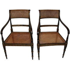 Pair of Regency Painted Black and Gilt Armchairs