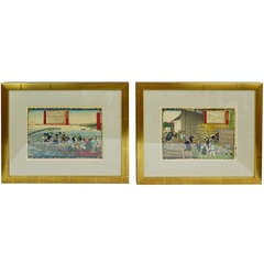 Group of Five Framed Japanese Wood Block Prints, 19th Century