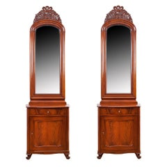 Pair of Christian VIII Serpentine-Front, Mahogany Consoles w/ Mirrors, c. 1850