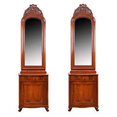 Pair of Danish Serpentine Front, Cuban Mahogany Consoles with Mirrors, c. 1850