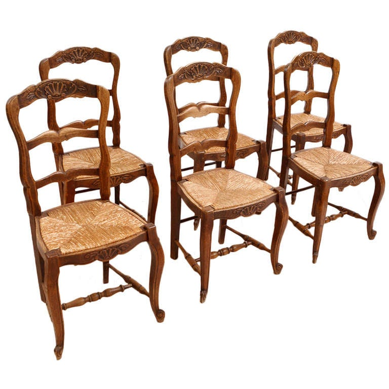 Set of 6 six french provincial dining chairs in walnut with rush seats c 1880 at 1stdibs