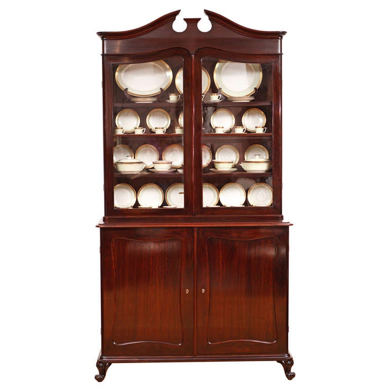 French Louis Philippe Glazed Bookcase/ Vitrine in Rosewood with Drawers, c. 1845