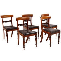 Set of Four English William IV Rosewood Side or Dining Chairs, circa 1830