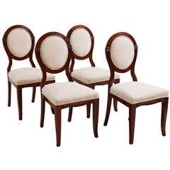 Set of Four Early Art Deco Side Chairs in Mahogany, circa 1915