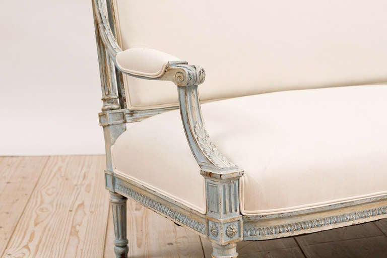 French Louis XVI Style Upholstered Sofa in Painted Finish, circa 1870 4