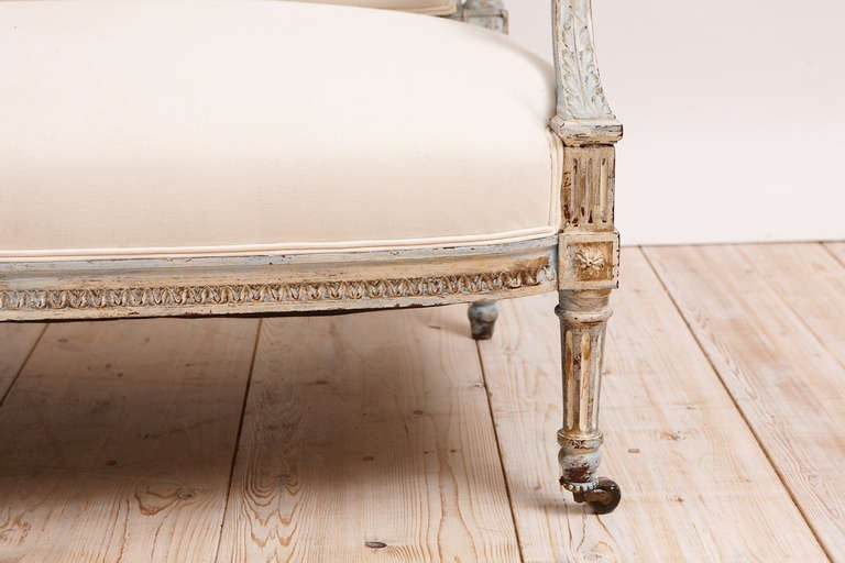 French Louis XVI Style Upholstered Sofa in Painted Finish, circa 1870 8