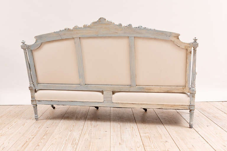 French Louis XVI Style Upholstered Sofa in Painted Finish, circa 1870 10