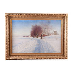 """Winter Road,"" Beautifully Framed Large Oil on Canvas by Peter Adolf Persson"
