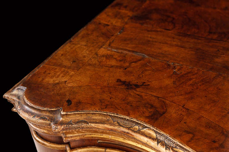 18th Century Baroque Chest of Drawers in Burl Walnut w/ Embossed Gilding For Sale 4