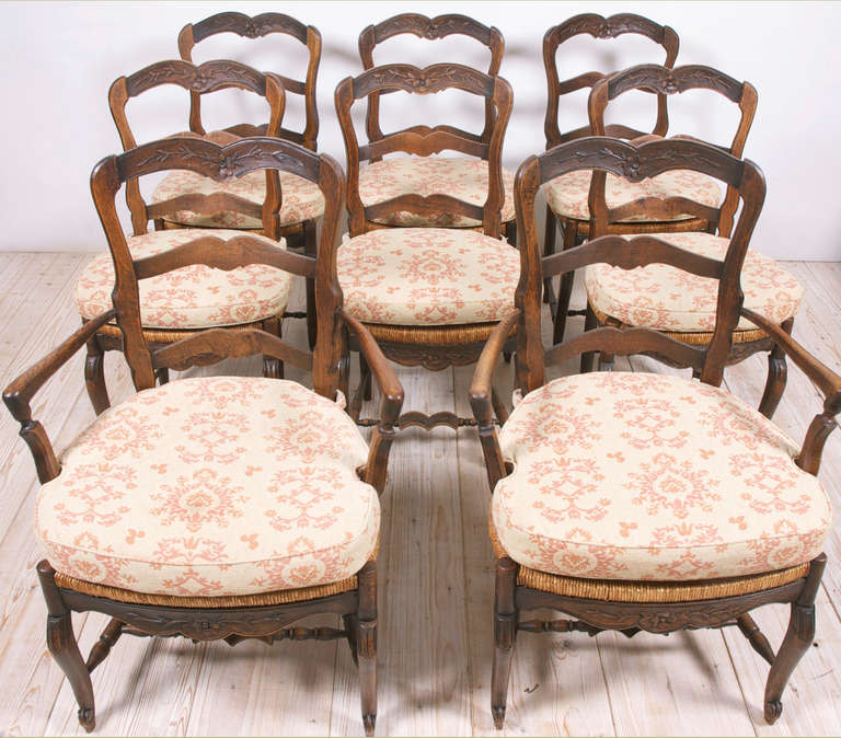 set of eight french provincial louis xv dining chairs circa 1830 at