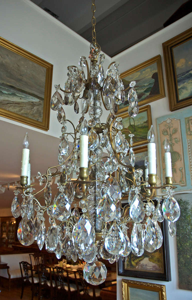 Rococo style swedish crystal chandelier with 16 lights circa 1910 a very fine candle opera bird cage chandelier with exceptional faceted tear drop crystals arubaitofo Image collections