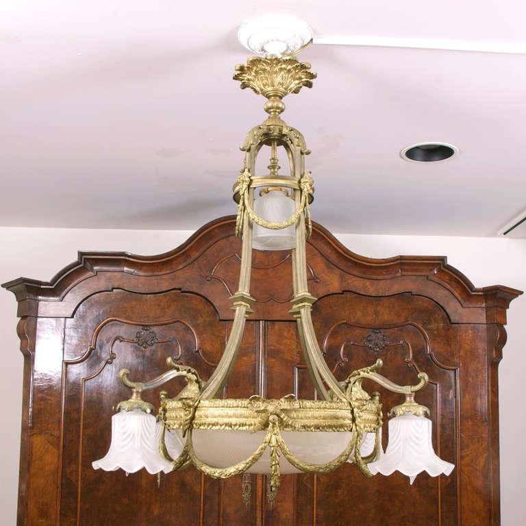 Belle epoque chandelier with eight lights in bronze d ore france