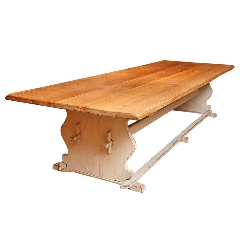 11' Swedish Gustavian-Style Oak Farmhouse Table w/ Painted Trestle Base, c 1850 For Sale