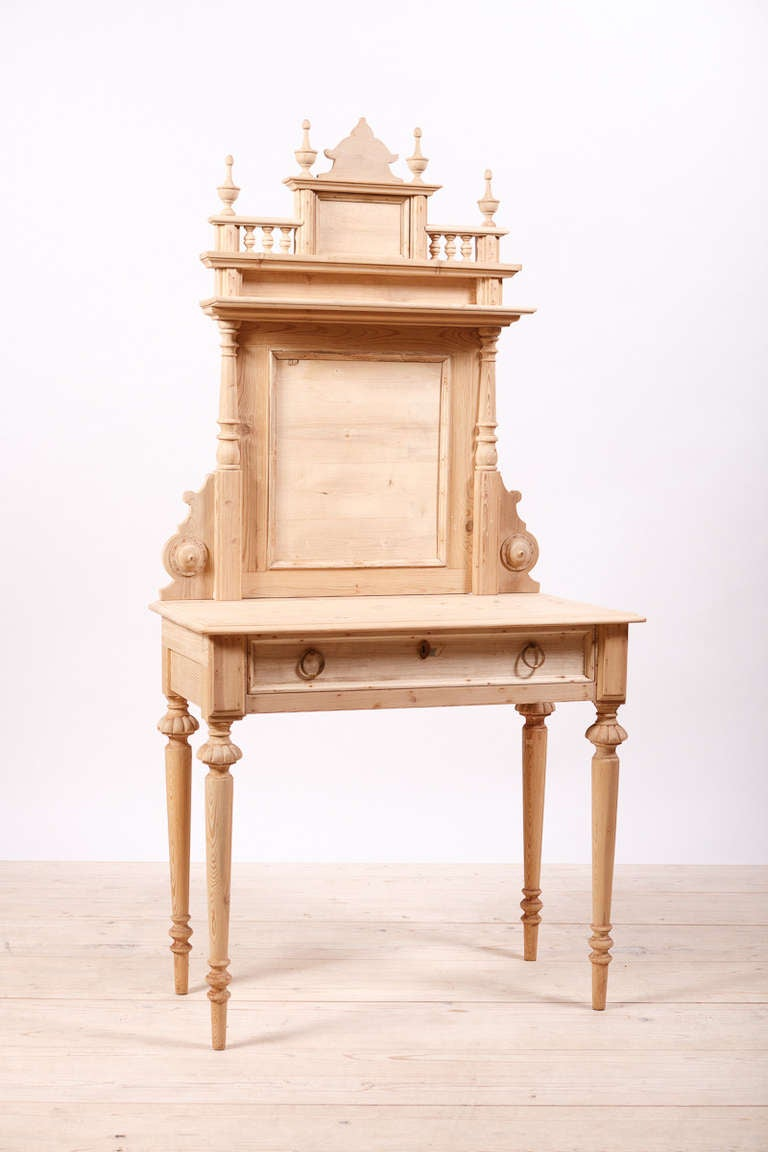 Swedish Dressing Table in Pine with Drawer and Original Back Board, circa 1870 2