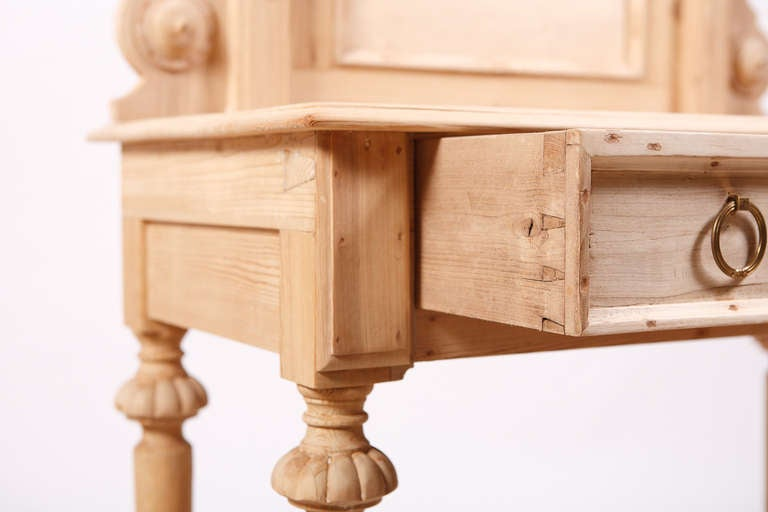 Swedish Dressing Table in Pine with Drawer and Original Back Board, circa 1870 7