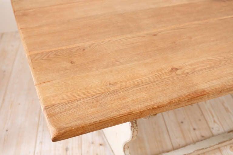 19th Century 11' Swedish Gustavian-Style Oak Farmhouse Table w/ Painted Trestle Base, c 1850 For Sale