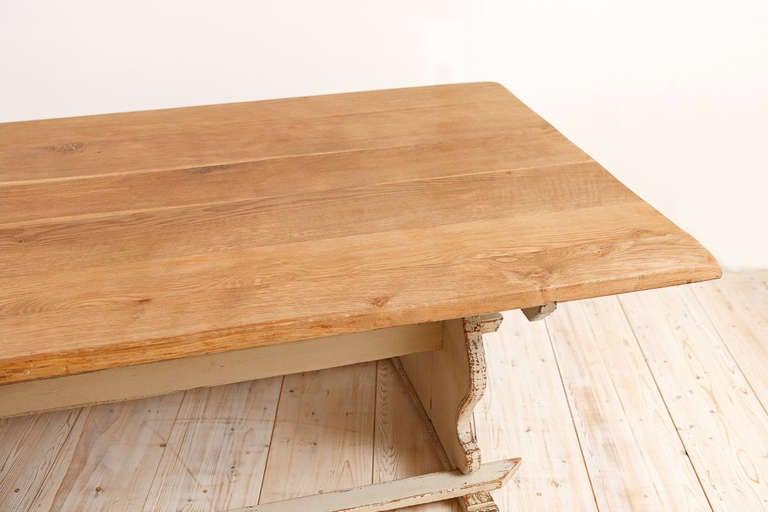 11' Swedish Gustavian-Style Oak Farmhouse Table w/ Painted Trestle Base, c 1850 For Sale 2