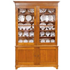 French Charles X Bookcase in Cherry Wood w/ Original Glass Door Panels, c. 1820