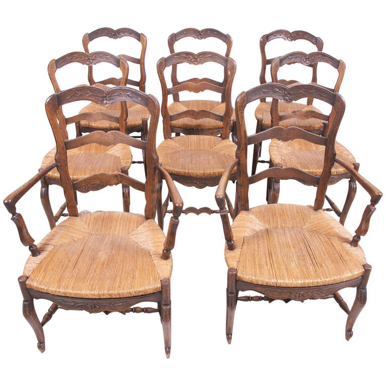 set of eight french provincial louis xv dining chairs