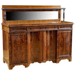 Danish Sideboard in Flame, Bookmatched Mahogany, circa 1840
