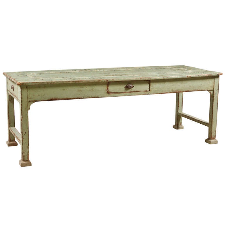 American Plank Top Painted Farmhouse Dining Table circa