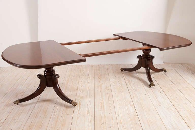 American federal revival double pedestal dining table in for Double pedestal dining table plans