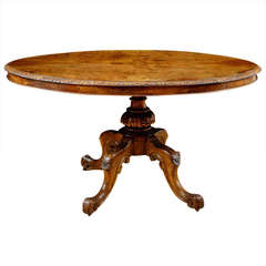 English Tilt-Top Center Pedestal Table in Walnut and Burl Walnut