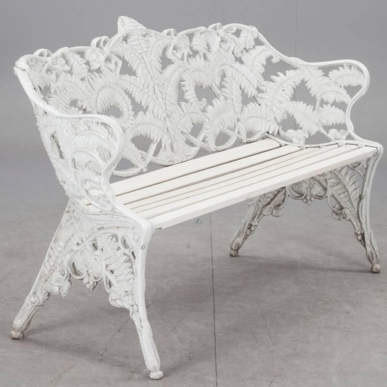 Victorian Swedish Garden Bench with Fern Motif