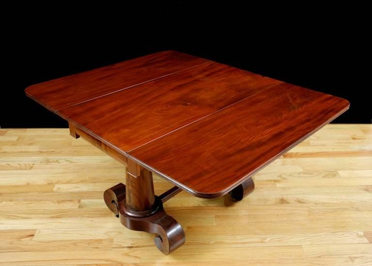 Polished Meeks American Empire, Greek Revival Drop-Leaf Mahogany Breakfast Table For Sale